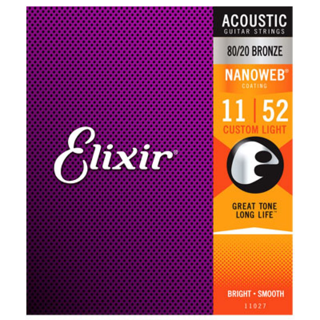 Elixir 11027 Acoustic 80/20 Bronze Custom Light 11-52