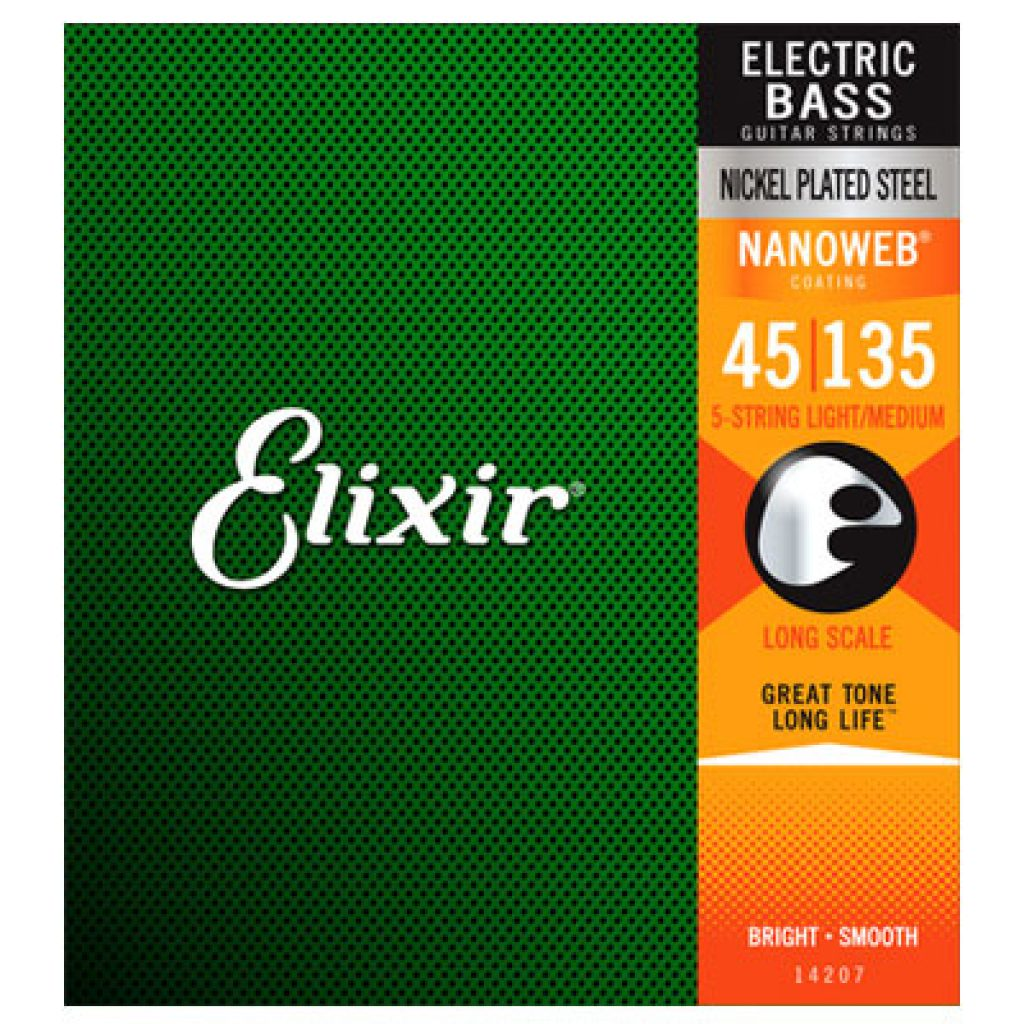 Elixir 14207 Electric Bass Nickel Plated Steel Light Medium 45-135