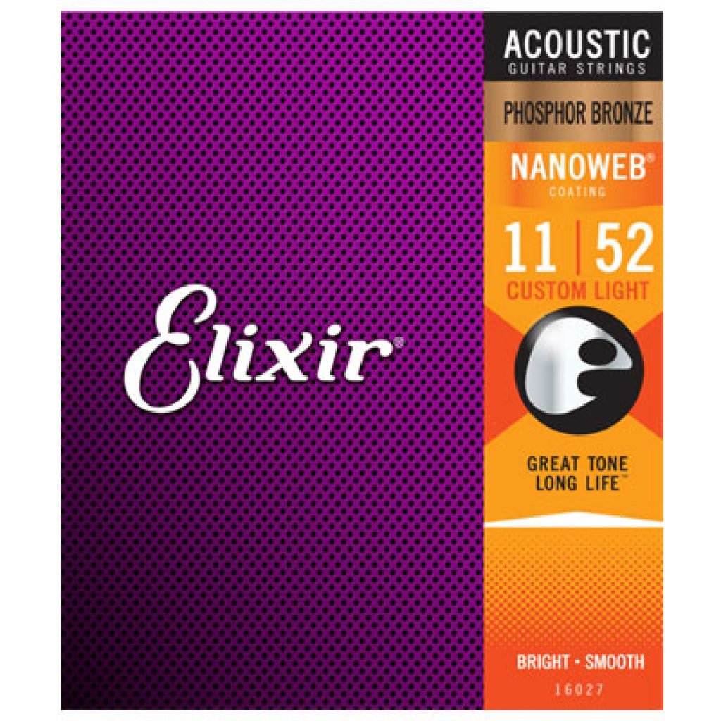 Elixir 16027 Acoustic Phosphor Bronze Custom Light 11-52