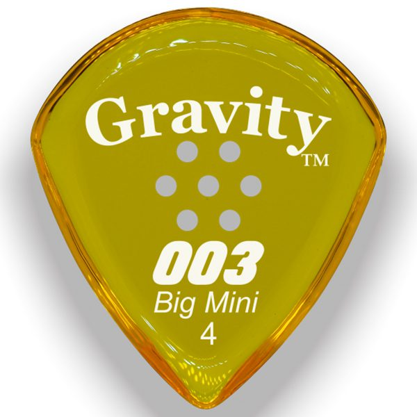 Gravity Picks G003B4PM 003 Big Mini 4.0mm Polished w/ Multi-Hole Yellow