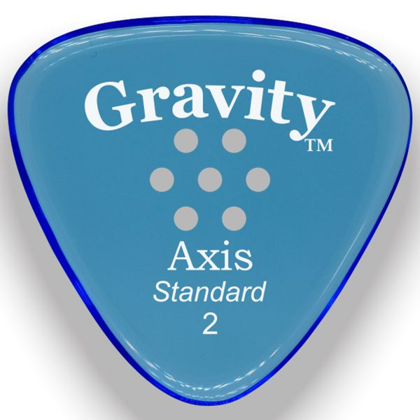 Gravity Picks GAXS2PM Axis Standard 2.0mm Polished with Multi-Hole Grip Blue