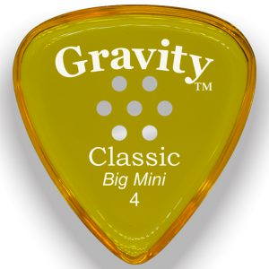 Gravity Picks GCLB4PM Classic Big Mini 4.0mm Polished with Multi-Hole Grip Yellow