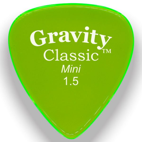 Gravity Picks GCLM15P Classic Mini 1.5mm Polished Fluorescent Green