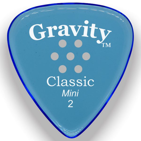 Gravity Picks GCLM2PM Classic Mini 2.0mm Polished with Multi-Hole Grip Blue