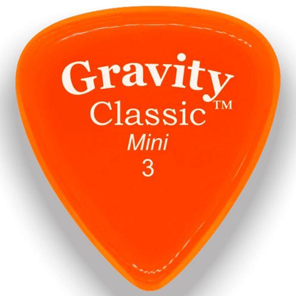 Gravity Picks GCLM3P Classic Mini 3.0mm Polished Orange