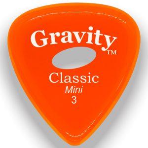 Gravity Picks GCLM3PE Classic Mini 3.0mm Polished with Elipse Grip Hole Orange
