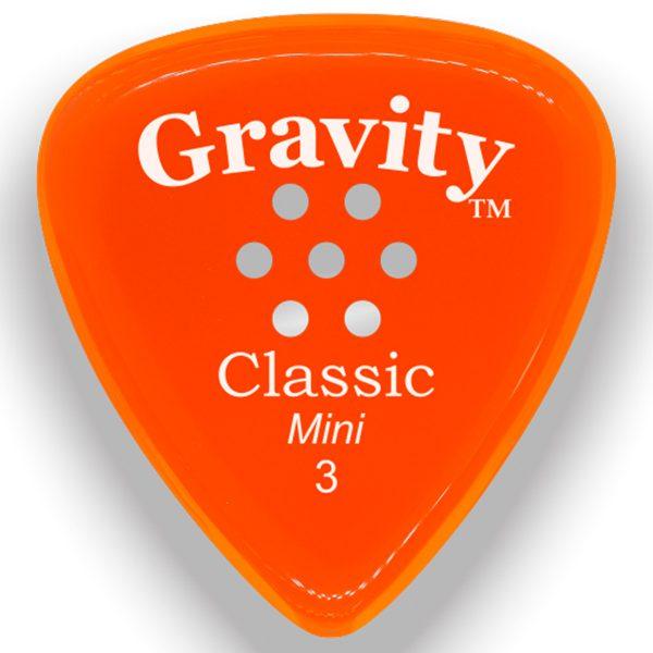 Gravity Picks GCLM3PM Classic Mini 3.0mm Polished with Multi-Hole Grip Orange