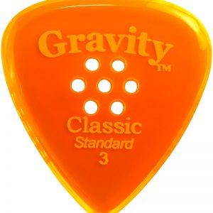 Gravity Picks GCLS3PM Classic Standard 3.0mm Polished with Multi-Hole Grip Orange