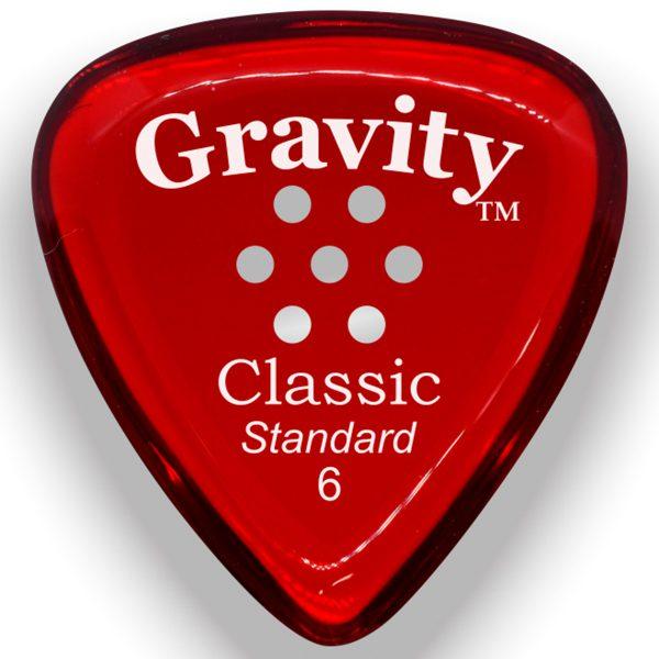 Gravity Picks GCLS6PM Classic Standard 6.0mm Polished w/ Multi-Hole Red