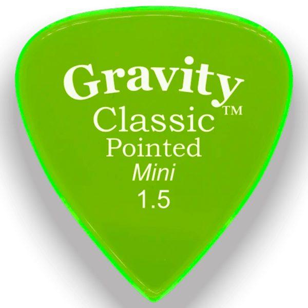 Gravity Picks GCPM15M Classic Pointed 1.5mm Mini (Jazz) Master Green