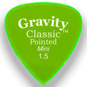 Gravity Picks GCPM15P Classic Pointed Mini 1.5mm Polished Fluorescent Green