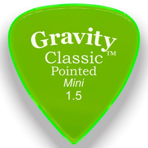 Gravity Picks GCPM15P Classic Pointed Mini 1.5mm Polished Fluorescent Green