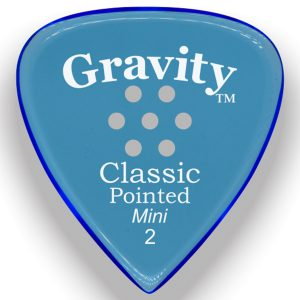 Gravity Picks GCPM2MM Classic Pointed Mini 2.0mm Master with Multi-Hole Grip Blue