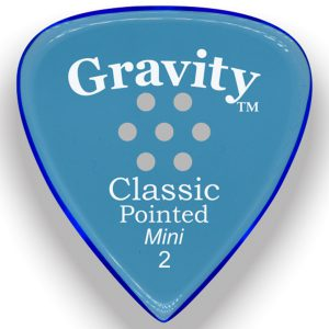 Gravity Picks GCPM2PM Classic Pointed Mini 2.0mm Polished with Multi-Hole Grip Blue