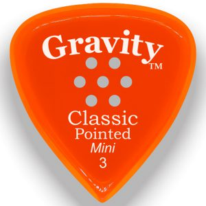 Gravity Picks GCPM3PM Classic Pointed Mini 3.0mm Polished with Multi-Hole Grip Orange