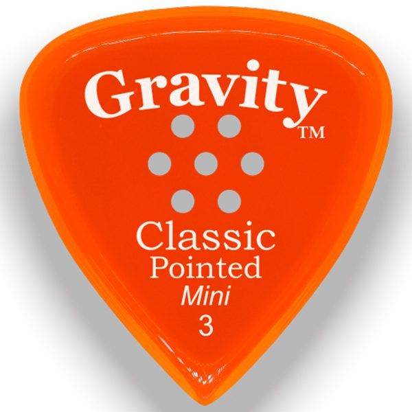 Gravity Picks GCPM3PM Classic Pointed Mini 3.0mm Polished with Multi-Hole Grip Orange
