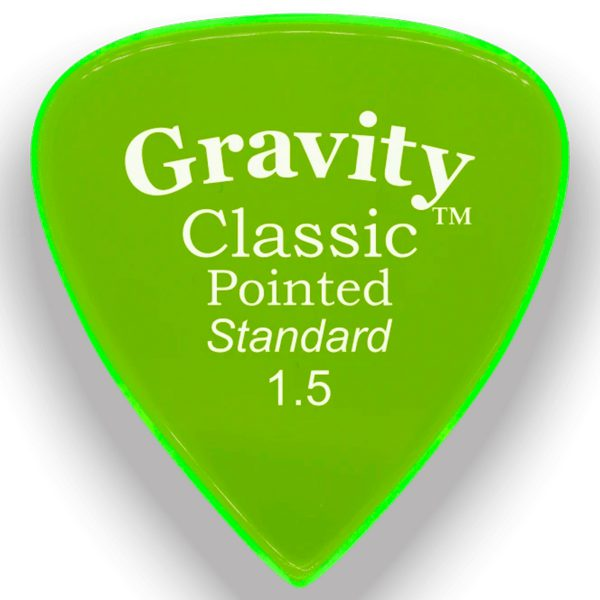 Gravity Picks GCPS15P Classic Pointed Standard 1.5mm Polished Fl. Green