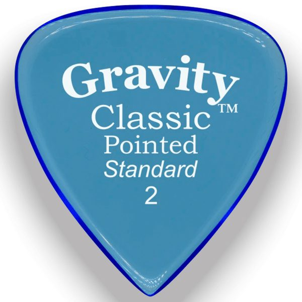 Gravity Picks GCPS2P Classic Pointed 2.0mm Standard Polished Blue