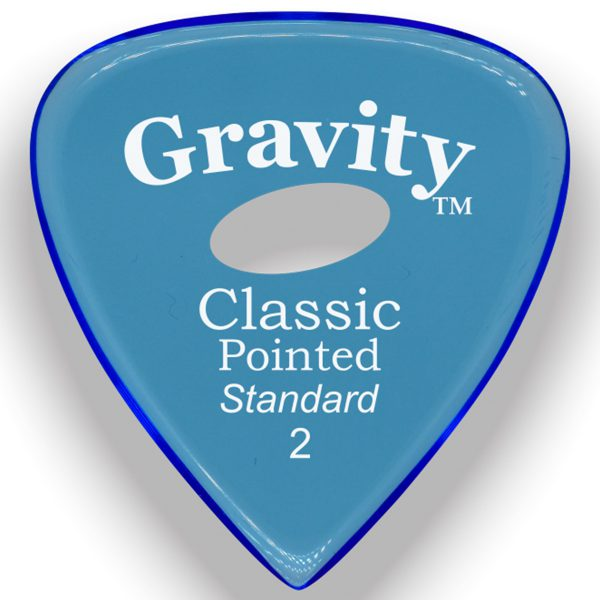 Gravity Picks GCPS2PE Classic Pointed Standard 2.0mm Polished w/ Elipse Blue
