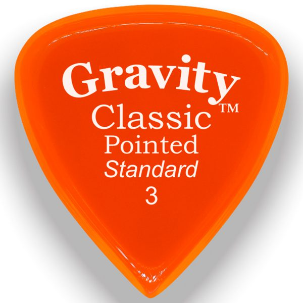 Gravity Picks GCPS3P Classic Pointed Standard 3.0mm Polished Orange