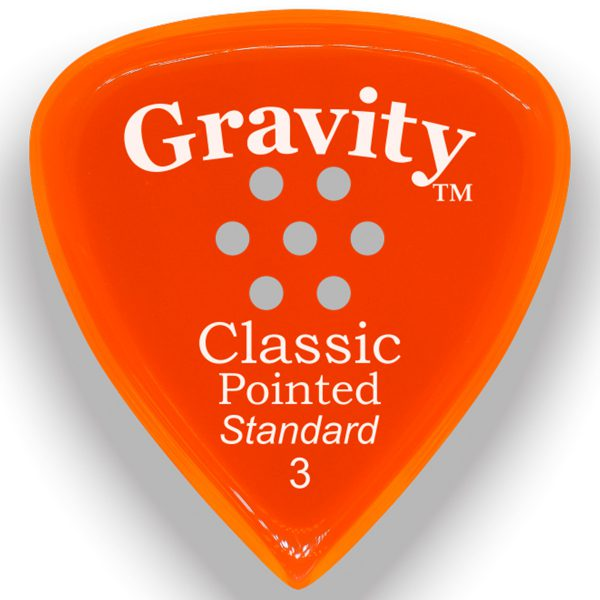 Gravity Picks GCPS3PM Classic Pointed Standard 3.0mm Polished w/ Multi-Hole Orange