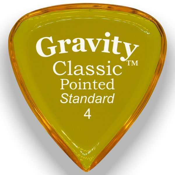 Gravity Picks GCPS4P Classic Pointed 4.0mm Standard Polished Yellow