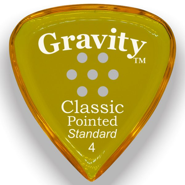 Gravity Picks GCPS4PM Classic Pointed Standard 4.0mm Polished w/ Multi-Hole Yellow