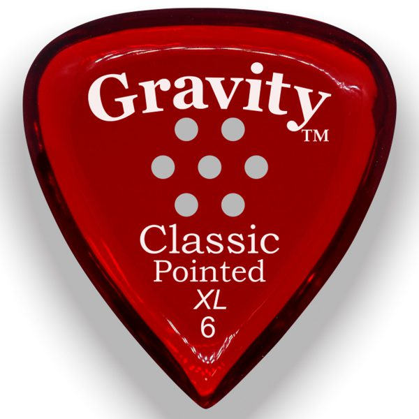 Gravity Picks GCPX6PM Classic Pointed XL 6.0mm Polished w/ Multi-Hole Red
