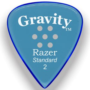 Gravity Picks GRAS2PM Razer Standard 2.0mm Polished w/ Multi-Hole Blue