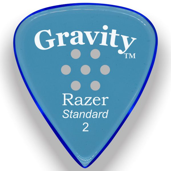 Gravity Picks GRAS2PM Razer Standard 2.0mm Polished w/ Multi-Hole Blue