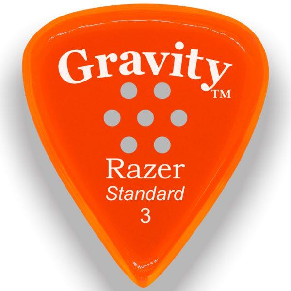 Gravity Picks GRAS3PM Razer Standard 3.0mm Polished w/ Multi-Hole Orange