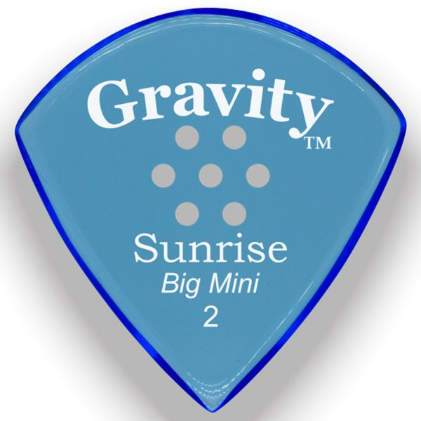 Gravity Picks GSUB2PM Sunrise Big Mini 2.0mm Polished with Multi-Hole Grip Blue