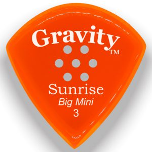 Gravity Picks GSUB3PM Sunrise Big Mini 3.0mm Polished with Multi-Hole Grip Orange