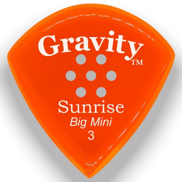 Gravity Picks GSUB3PM Sunrise Big Mini 3.0mm Polished with Multi-Hole Grip Orange
