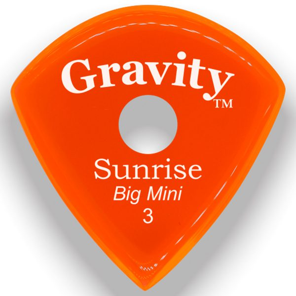 Gravity Picks GSUB3PR Sunrise Big Mini 3.0mm Polished with Round Grip Hole Orange