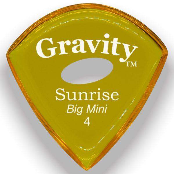 Gravity Picks GSUB4PE Sunrise Big Mini 4.0mm Polished with Elipse Grip Hole Yellow