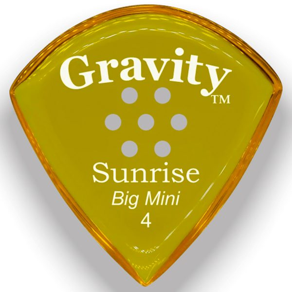 Gravity Picks GSUB4PM Sunrise Big Mini 4.0mm Polished with Multi-Hole Grip Yellow
