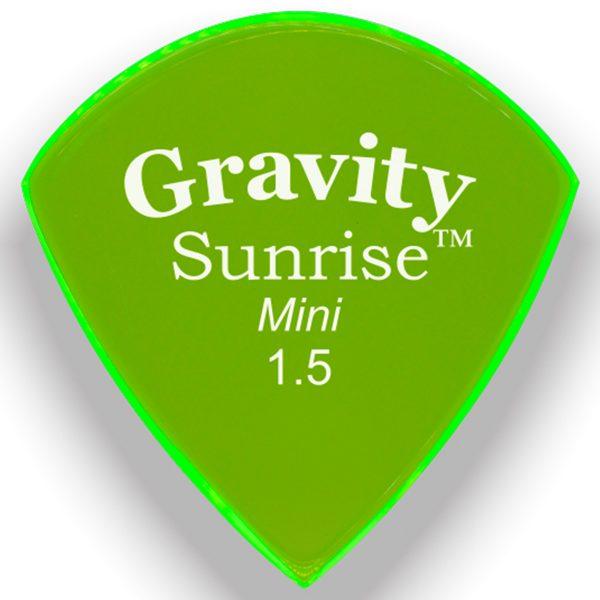 Gravity Picks GSUM15P Sunrise Mini 1.5mm Polished Fluorescent Green
