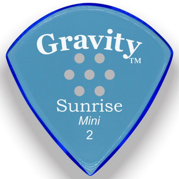 Gravity Picks GSUM2PM Sunrise Mini 2.0mm Polished with Multi-Hole Grip Blue