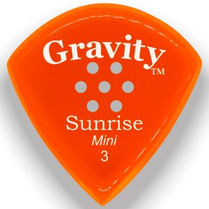 Gravity Picks GSUM3PM Sunrise Mini 3.0mm Polished with Multi-Hole Grip Orange