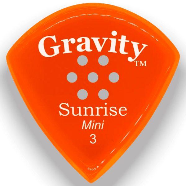 Gravity Picks GSUM3PM Sunrise Mini 3.0mm Polished with Multi-Hole Grip Orange