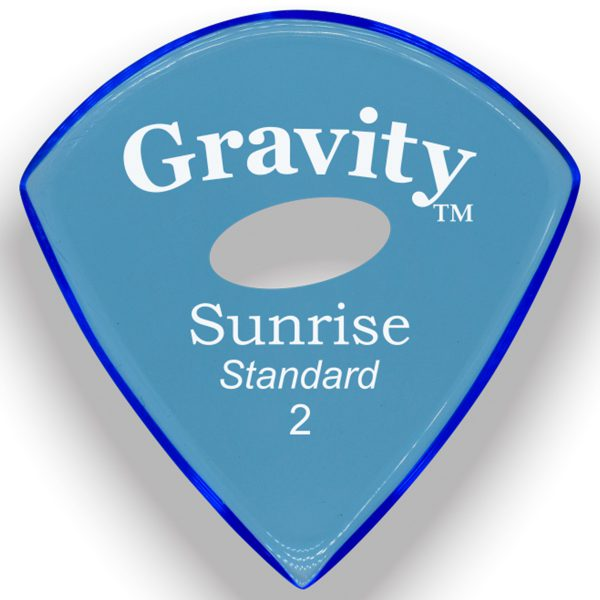 Gravity Picks GSUS2PE Sunrise Standard 2.0mm Polished w/ Elipse Blue