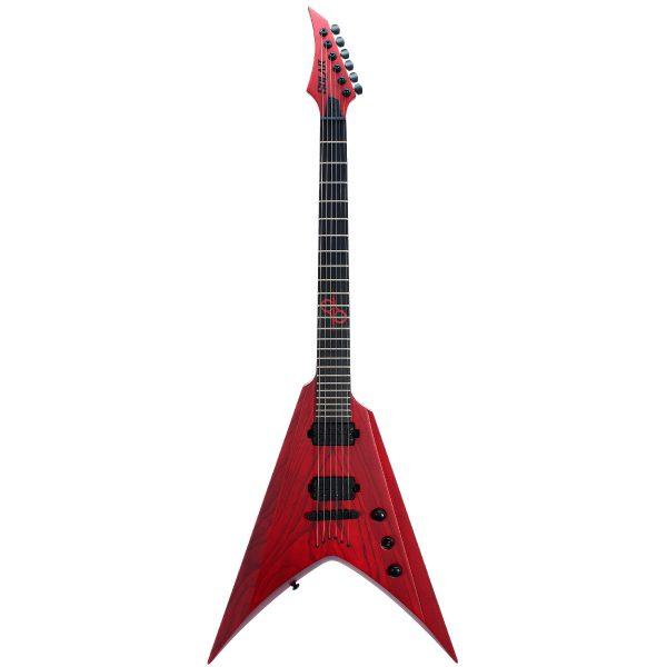 Solar Guitars V2.6TBR Trans Blood Red Matte Swamp Ash con Funda