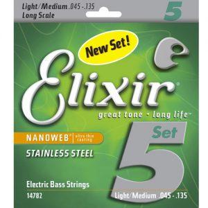Elixir 14782 Electric Bass Stainless Steel Light Medium 45-135
