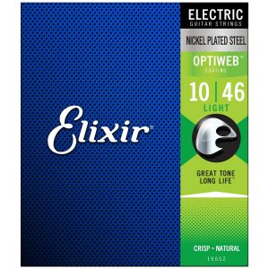 Elixir 19052 Electric Nickel Plated Steel OPTIWEB Light 10-46