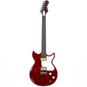 Harmony Standard Series Rebel Electric Guitar, Flame Maple Top, Transparent Red (Limited Edition)