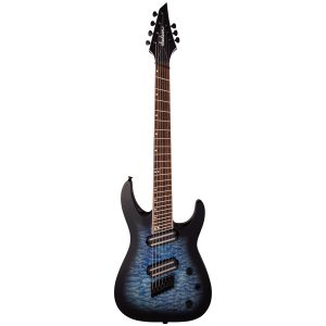 Jackson Soloist Serie X Arch Top SLATX7Q MS, Laurel Fingerboard, Multi-Scale, Transparent Blue Burst